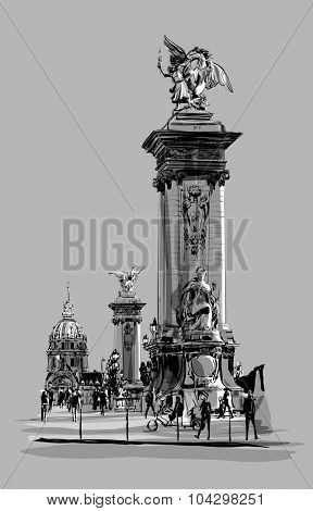 Alexandre III Bridge in Paris France - vector illustration