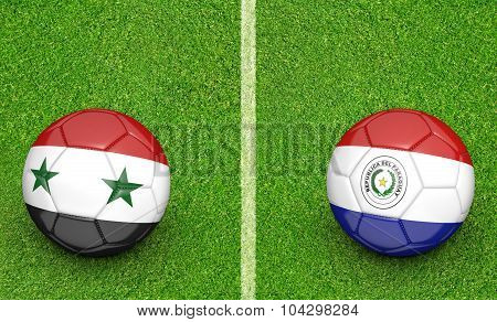 Team balls for Syria vs Paraguay soccer tournament match