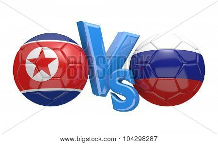 Soccer versus match between national teams North Korea and Russia