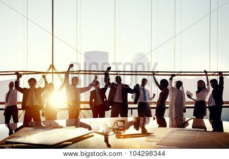 Business People Arms Raised Board Room Success Concept