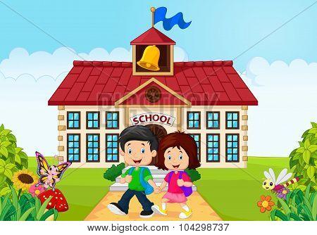 Cartoon little children leaving school