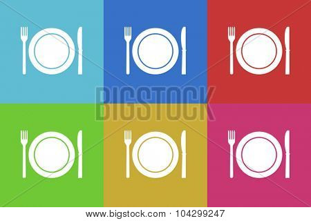 restaurant flat design modern vector icons colorful set for web and mobile app