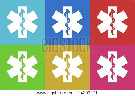 emergency flat design modern vector icons colorful set for web and mobile app