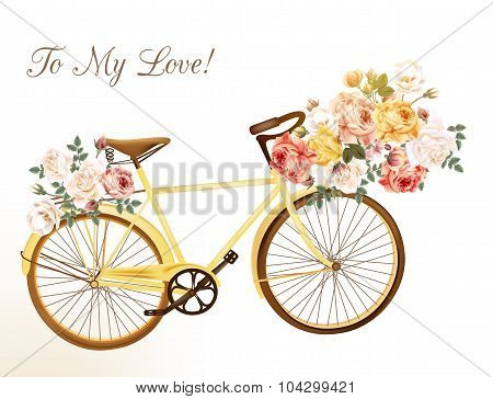 Cute Vector Invitation With Yellow Bicycle And Flowers