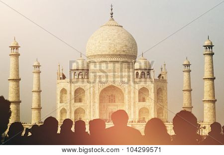 View Of Taj Mahal With Tourist Silhouettes Concept