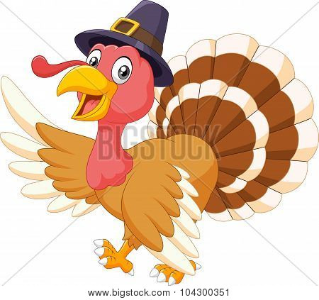 Cartoon turkey waving isolated on white background