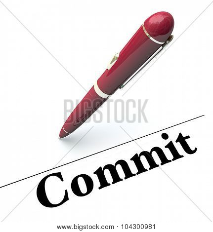 Commit word under signature line to illustrate signing a name on an official contract or agreement