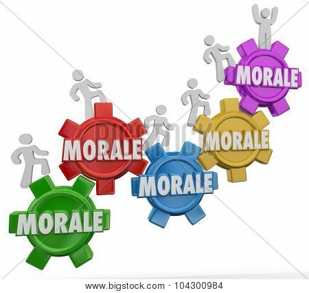 Morale words on gears with employees marching upward to increase team spirit, worker mood or attitude