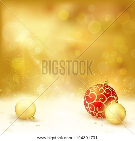 Golden Christmas background with light effects. Christmas baubles, blurry light dots and lights from above give it a festive and dreamy feeling.