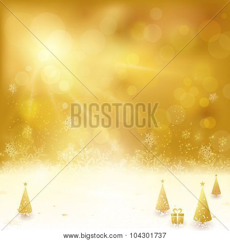 Festive golden background with stars, snowflakes, Christmas trees and gift. Out of focus light dots and light effects with light from above give it a festive and dreamy feeling.