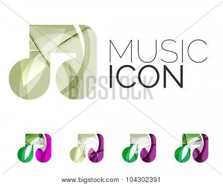 Set of abstract music note icon, business logotype concepts, clean modern geometric design. Created with transparent abstract wave lines