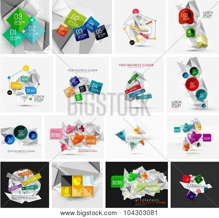 Set of abstract geometric paper effect infographic banner templates. Business presentations, backgrounds, option infographics or advertising banner layouts