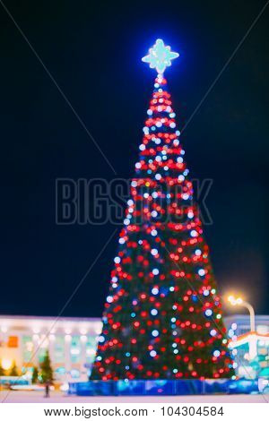 Defocused Blue Bokeh Background Effect. Design Backdrop. New Yea