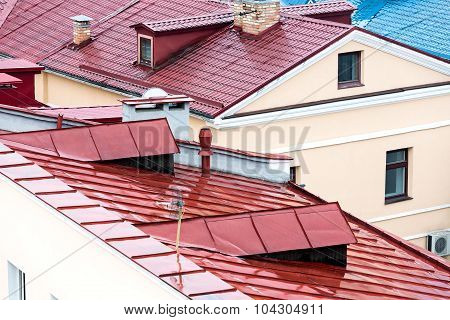 Wet Metal Roofs Of The Old City