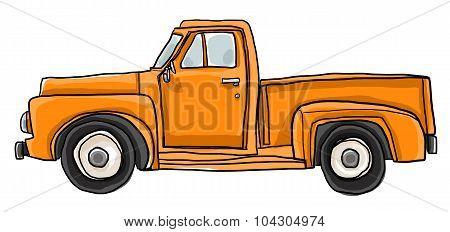 Old Orange Pickup Truck Cute Art Illustration