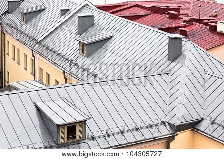 New Grey Metal Roof With Dormer Windows