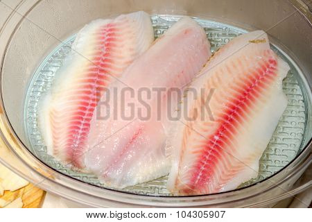 Steaming Raw Fish Tilapia In An Electric Steamer Close Up. Healthy Eating.