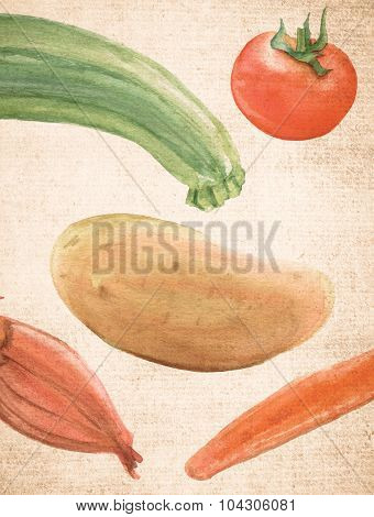A textured page with background watercolor drawings of rustic vegetables