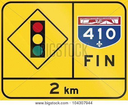 End Of Quebec Highway - Traffic Lights