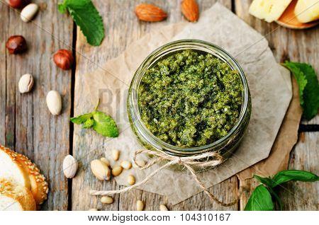Basil Mint Hazelnuts Pistachios Almonds Pine Nuts Pesto