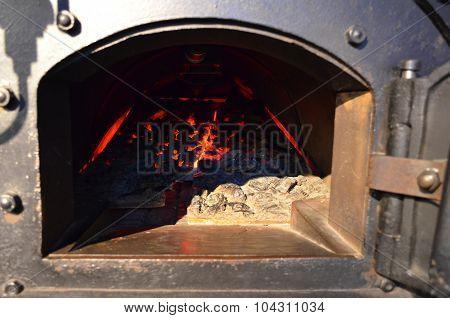 Coal fired steam boiler.