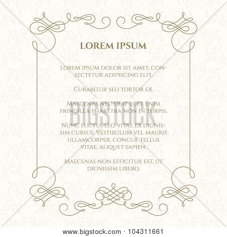 Calligraphic Frame. Template Cards.