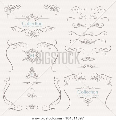 Set Of Calligraphic Elements. Template signage, labels, stickers, cards, menu.
