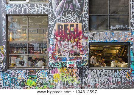 Restaurant In Hosier Lane, Melbourne