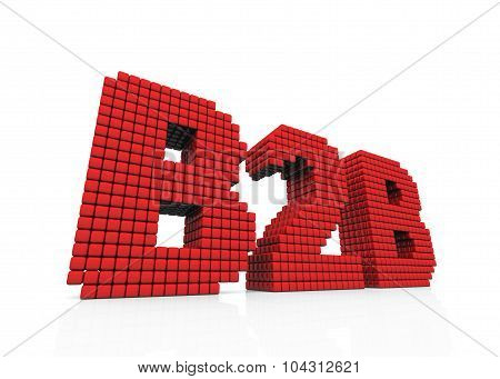 B2B Business Abbreviation With Pixel Effect On White Background