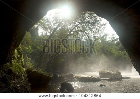 Heo Suwat Waterfall From Cave In Khao Yai National Park,Thailand.