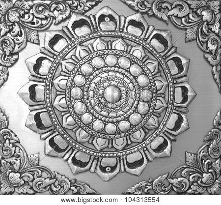 Background Floral Carved Silver Black.