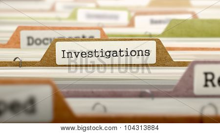 Investigations Concept on File Label.