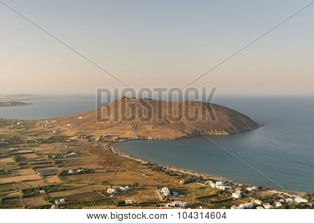 Beautiful scenic in Paros island in Greece. View of peninsula from top of a mountain.