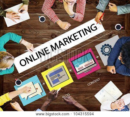 Online Marketing Strategy Branding Commerce Advertising Concept