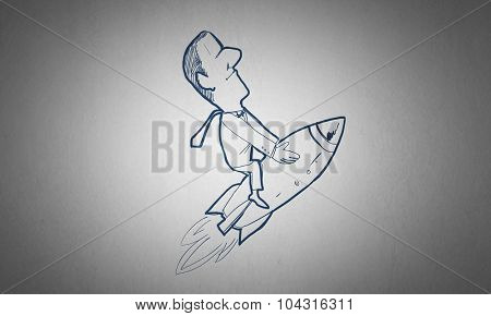 Caricature of funny man flying on rocket