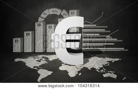 Financial background image with map graphs and euro sign