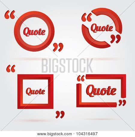 Set of Quote template with 3d red form. Quote bubble. Empty template. Vector illustration