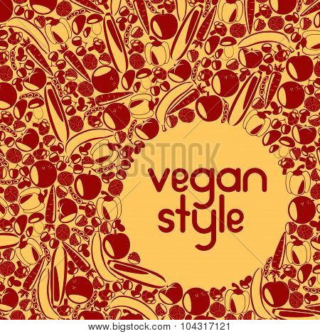 Two color vegetarian background with place for your text. Healthy lifestyle. Beautiful autumn backg