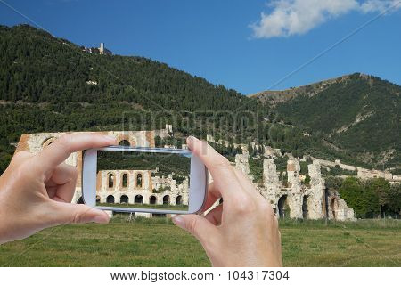 Taking  Picture Of The Gubbio (umbia, Italy)
