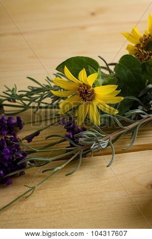 Small Sunflower And Lavender On Wooden Board