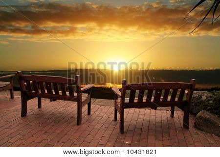 Sunrise Over Benches