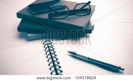Notepad With Stack Of Book Vintage Style