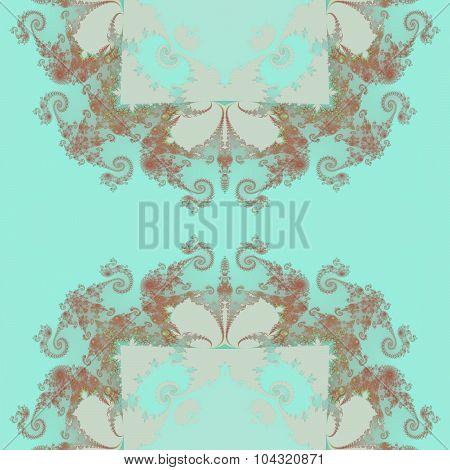Seamless fractal blue brown white decorative retro wallpaper