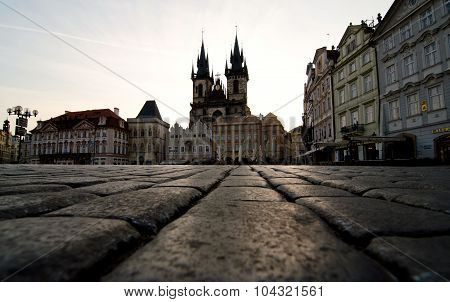 Cobblestones Leading To The Church Or Our Lady At Old Town Squar