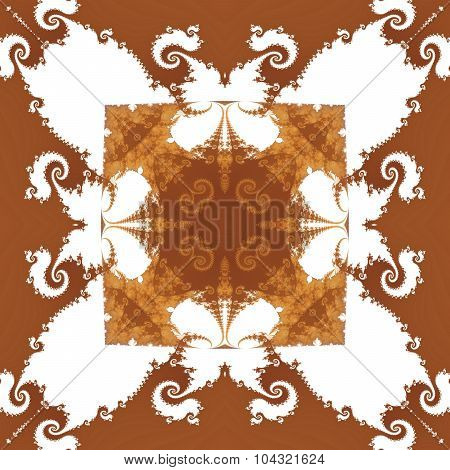 brown white decorative retro wallpaper in biedermeier style
