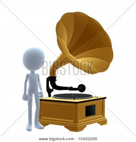 3D Guy Wtih un fonógrafo