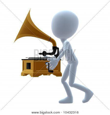 3D Guy Wtih A Phonograph