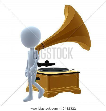 3D Kerl mit einem phonograph
