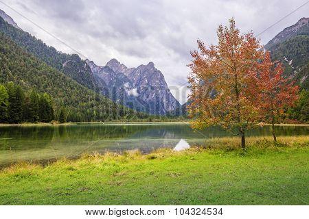 Dobbiaco Lake , Lago di Dobbiaco, Toblach, Dolomites, Italy