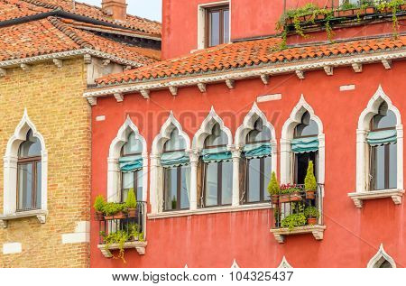 Beautiful window decorated with flowers in italy